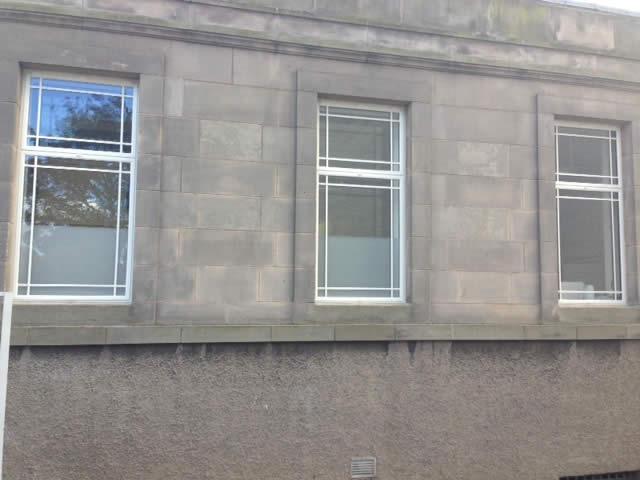 White sandblasted windows