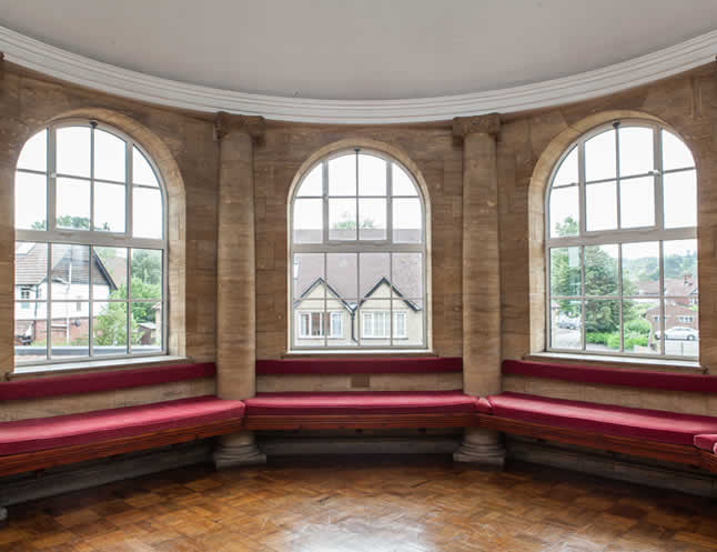 haslemere hall therm windows - interior