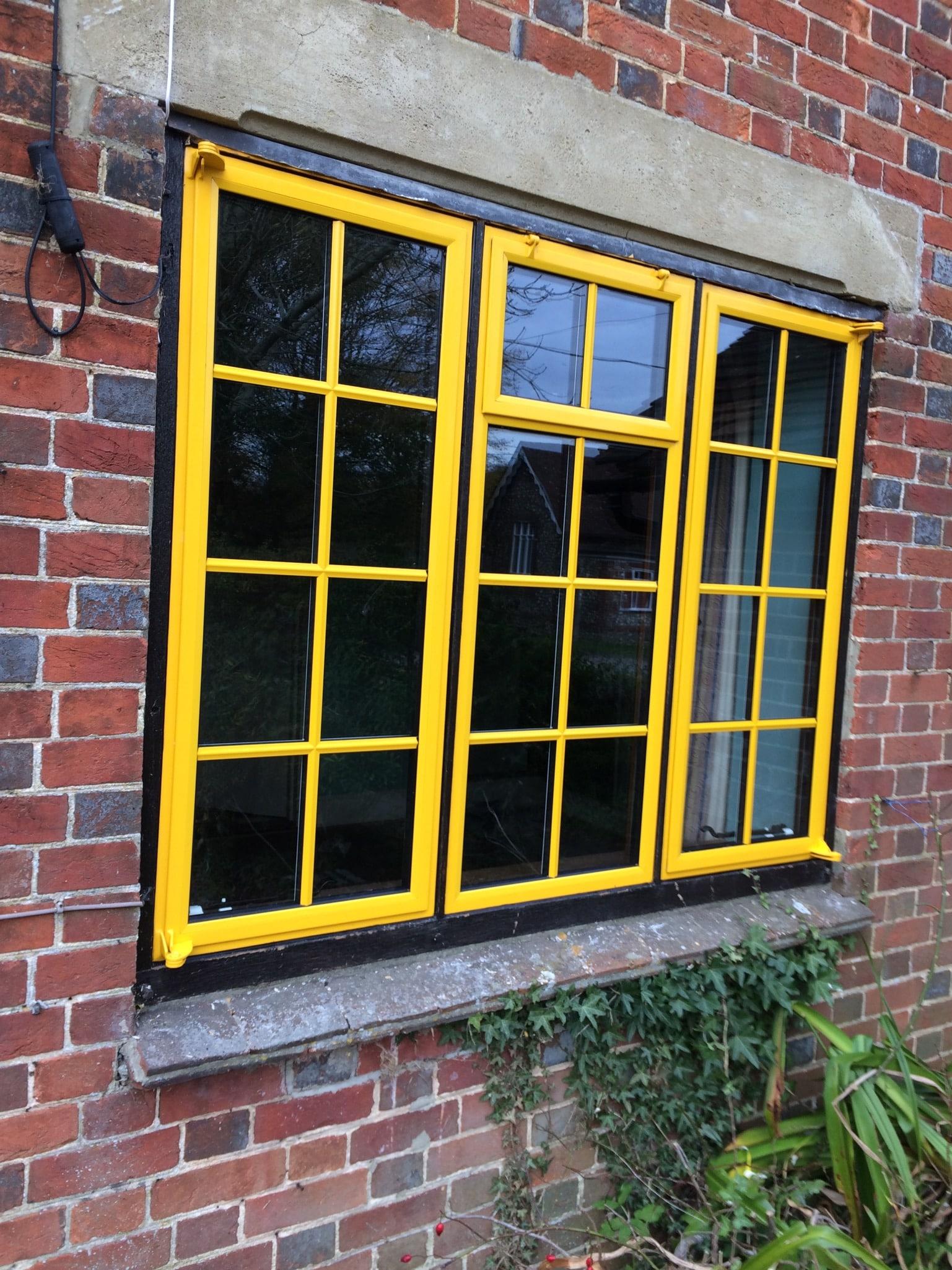 Yellow metal windows