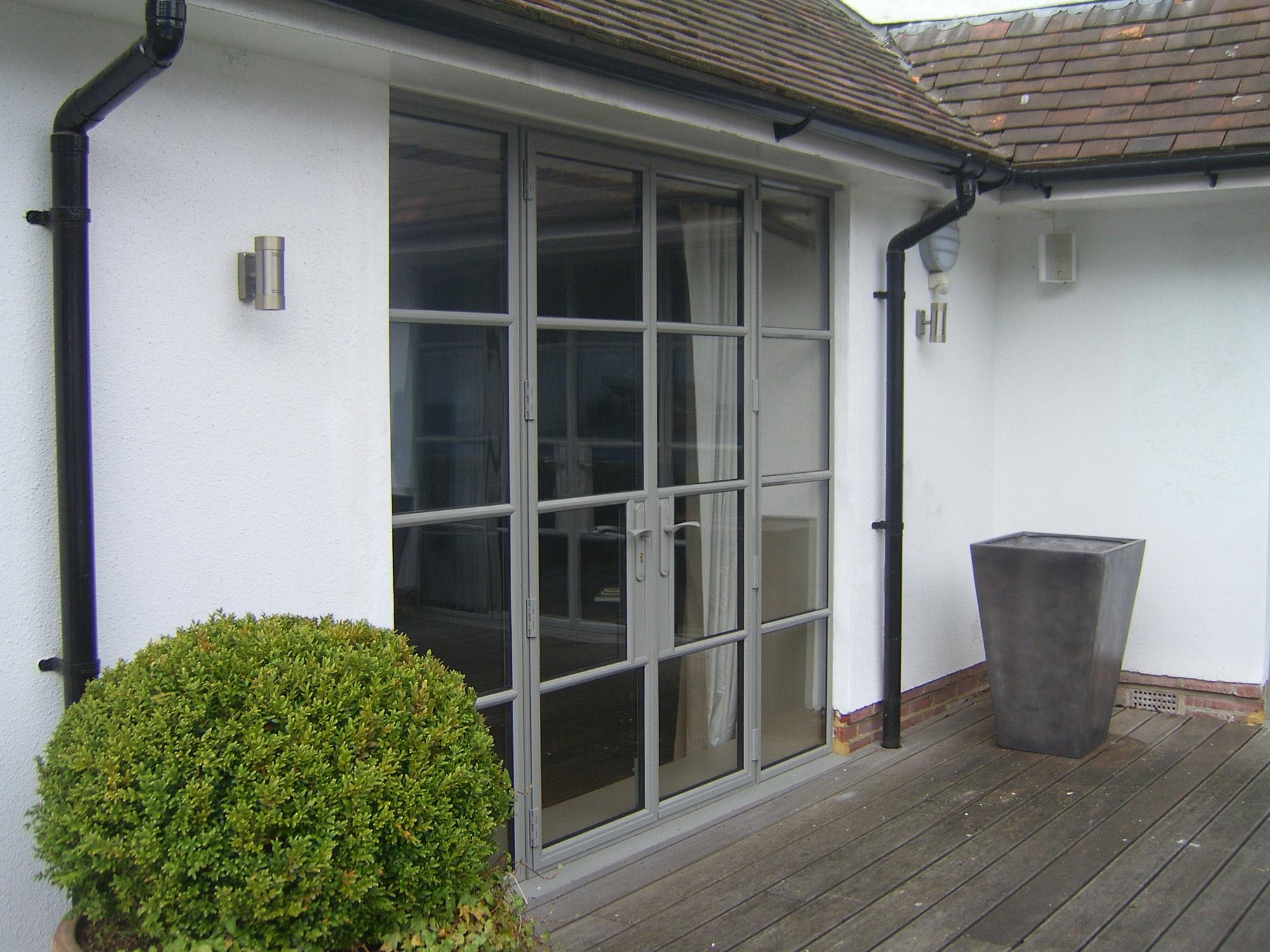 grey metal door screens